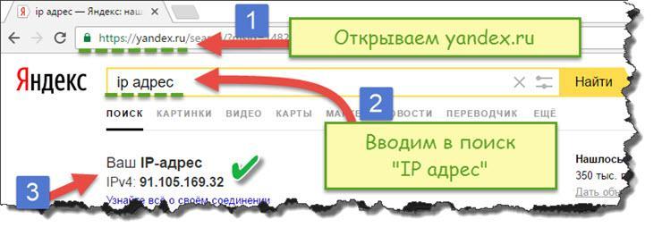 Узнать IP адрес компьютера с помощью яндекса