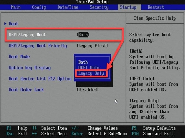 Настройки BIOS Legacy Only
