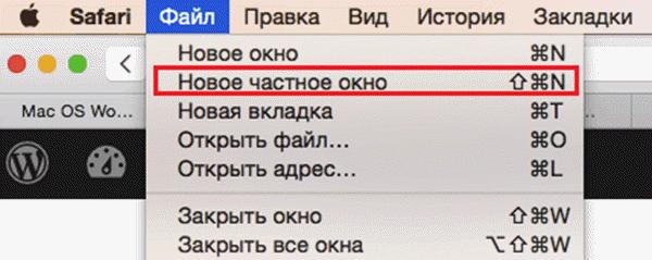 В браузере Safari (Сафари) режим инкогнито