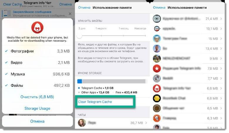 Как очистить кэш Телеграм для iPhone
