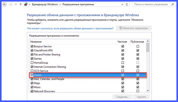 Блокировка брандмауэром Windows