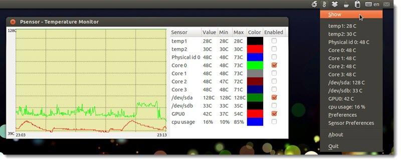 Как вывести температуру компьютера через $ psensor