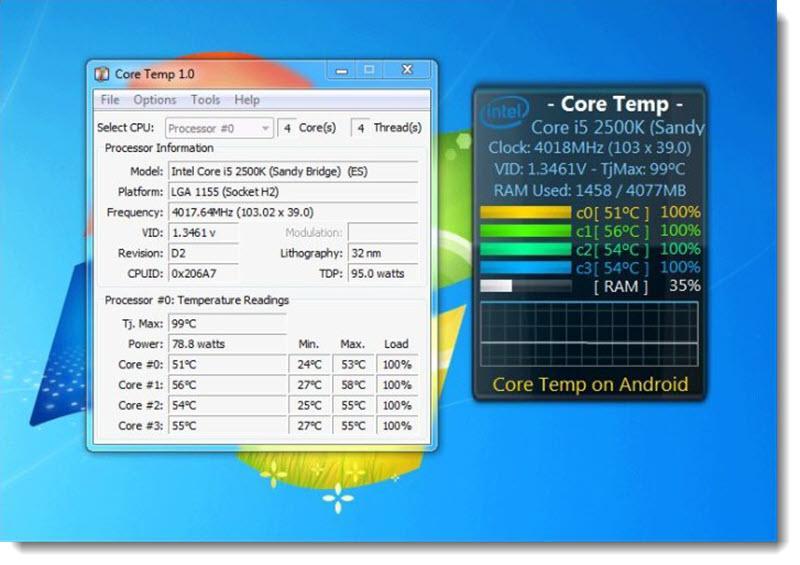 Core Temp программа проверки температуры процессора и гаджет на рабочий стол