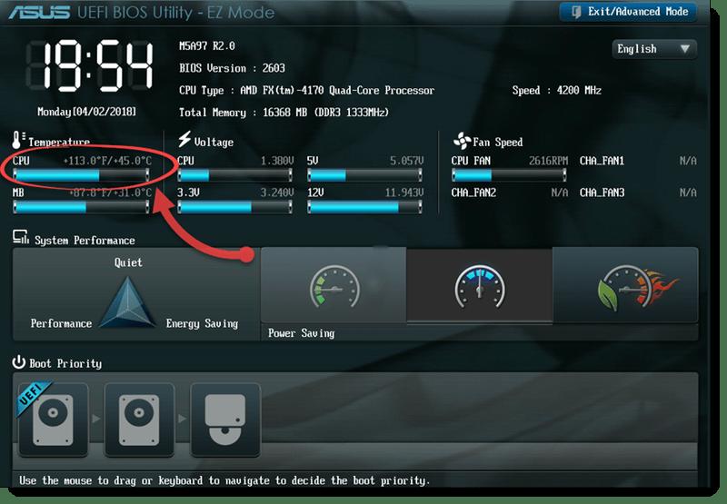 UEFI температура процессора