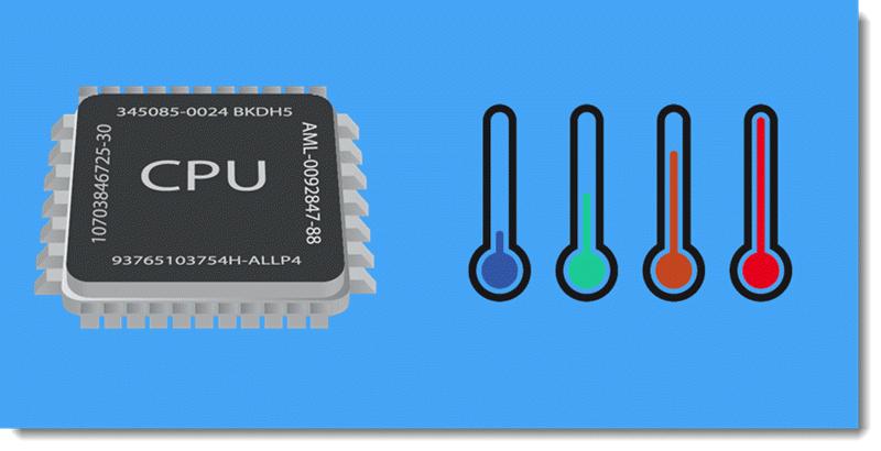 Температура процессора от минимальных значений до максимальных